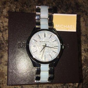 NIB Michael Kors MK4297 Light Blue Crystal Watch